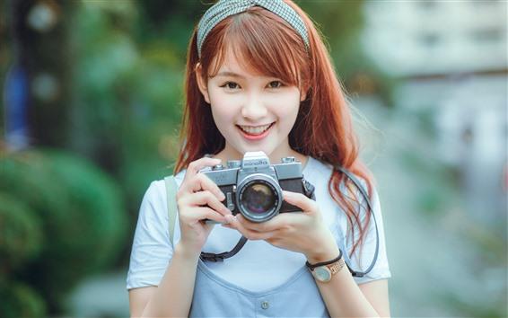 Papéis de Parede Feliz menina asiática, use a câmera