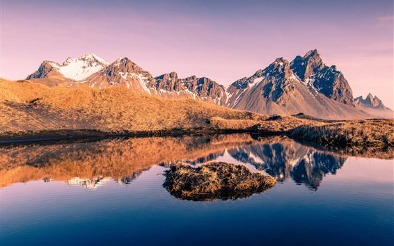 Wallpaper Iceland, mountains, grass, snow, lake, water reflection