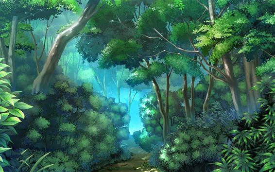 壁紙 ジャングル、木、パス、ベクトルのデザイン