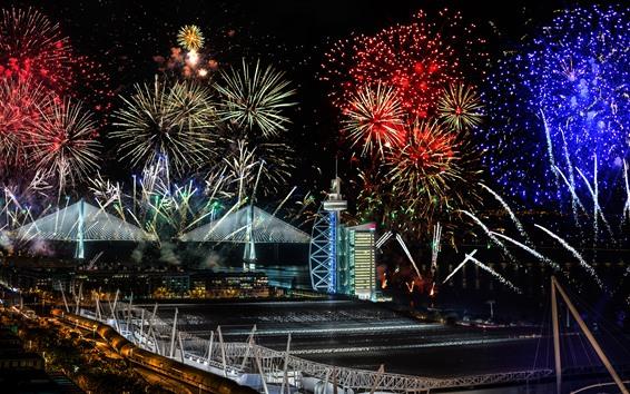 Wallpaper Lisbon, beautiful fireworks, Portugal, night, city