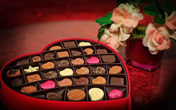 Обои Любовь сердце, шоколадные конфеты, подарок, романтик, цветы
