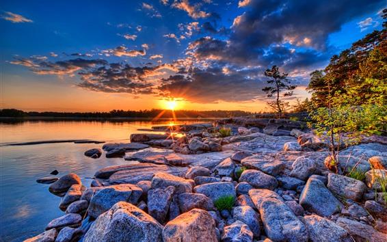 Wallpaper Many stones, lake, sunset, nature scenery