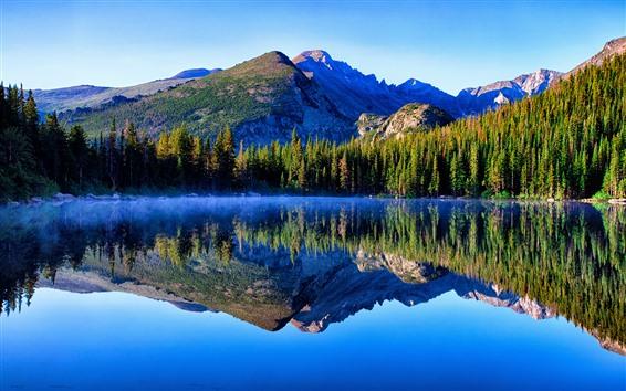 Обои Гора, озеро, деревья, отражение воды, туман