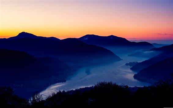 Обои Горы, закат, ночь, город, река, туман
