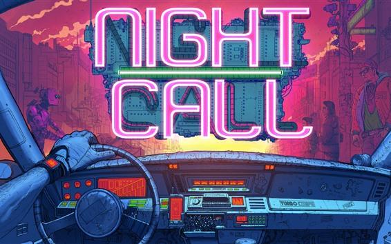 Fond d'écran Appel de nuit, Neon Light, Voiture, Robot, Image de conception créative