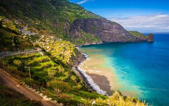 桌布 葡萄牙,馬德拉島,山脈,海灘,海,海岸,道路