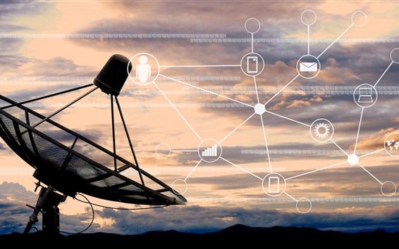 Papéis de Parede Telescópio de rádio, antena, imagem digital e criativa