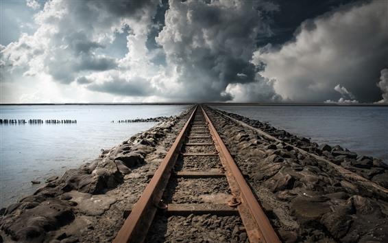 Wallpaper Railroad, lake, clouds, storm