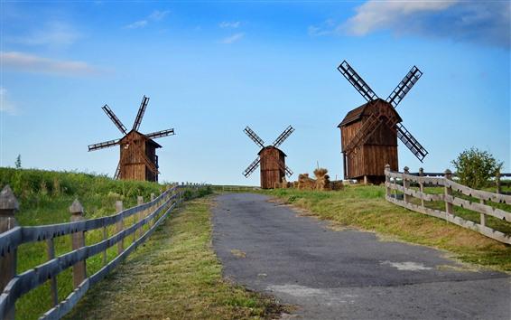 Обои Некоторая ветряная мельница, дорога, забор