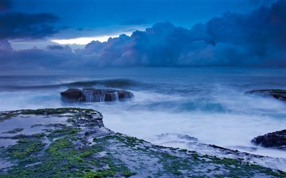 Обои Шторм, море, облака, побережье