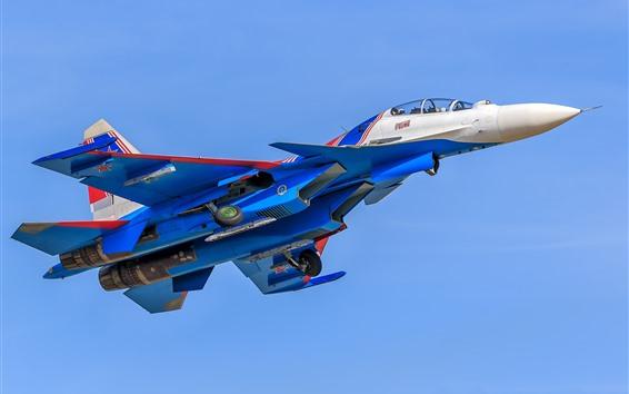 Wallpaper Su-30 multirole fighter, blue, sky