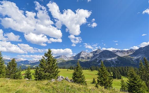 Wallpaper Switzerland, mountains, trees, blue sky, clouds, nature landscape