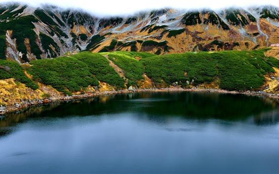 Fondos de pantalla Toyama, Montañas, Lago, Japón