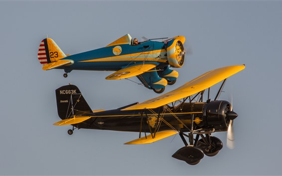 Wallpaper Two classic aircrafts flight in sky