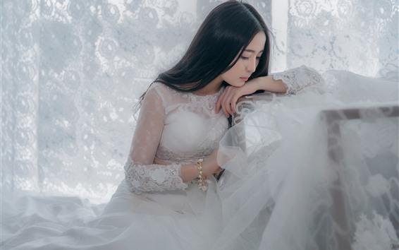 Обои Белая юбка азиатская девушка, невеста, мышление