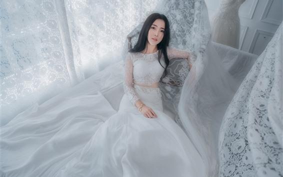 Обои Белая юбка девушка, невеста, азиатская девушка
