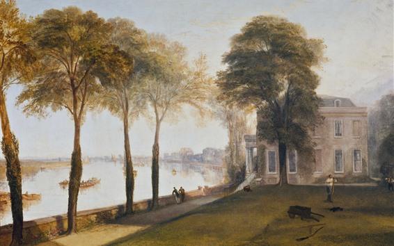 Обои Уильям Тернер, раннее летнее утро, деревья, река, живопись