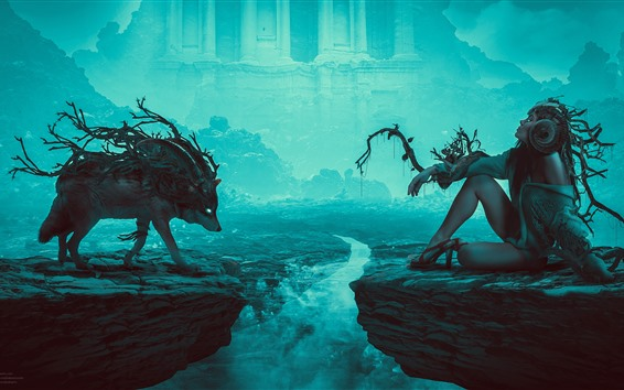 Wallpaper Wolf and girl, rocks, river, creative design