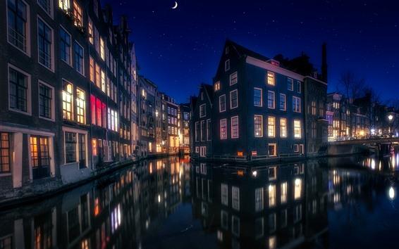 Обои Амстердам, Нидерланды, дома, огни, река, ночь