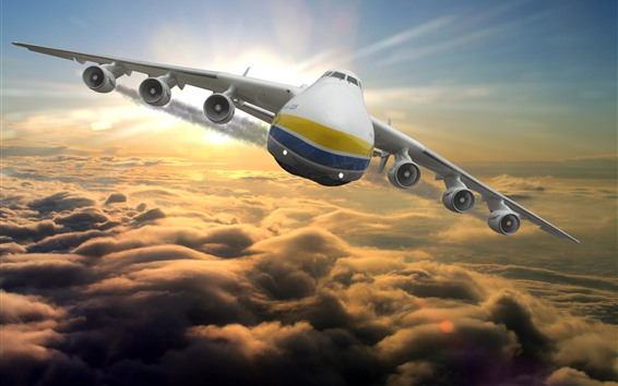 Wallpaper Antonov An-225 plane flight in sky, front view, clouds