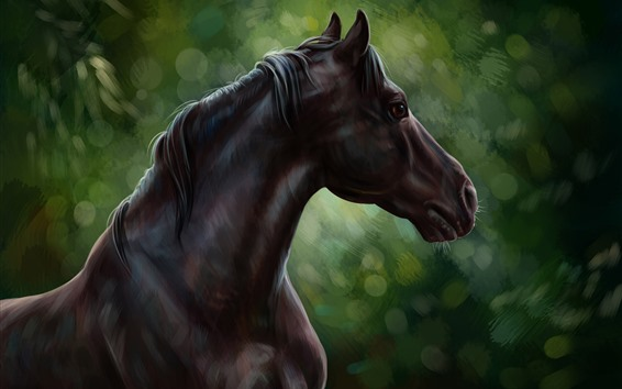 Wallpaper Art painting, brown horse, green background