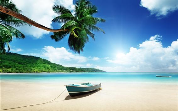 Обои Пляж, море, лодка, пальмы, небо, облака