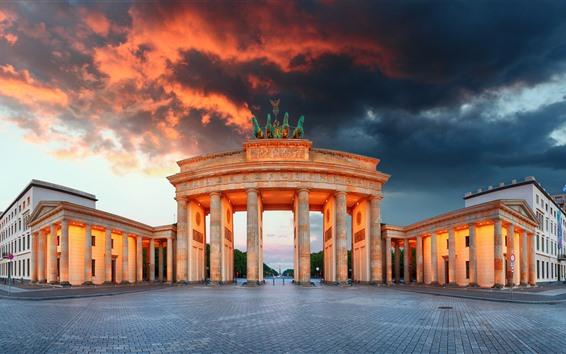 Обои Берлин, Бранденбург Ворота, Германия, Город, Облака, Сумерки