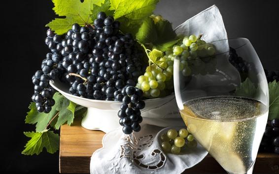 Обои Черно-зеленый виноград, вино, фрукты, напитки