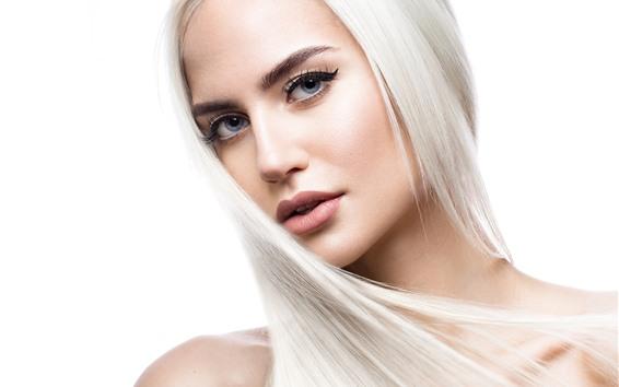 Fond d'écran Fille blonde, style de cheveux, visage, yeux, regarder