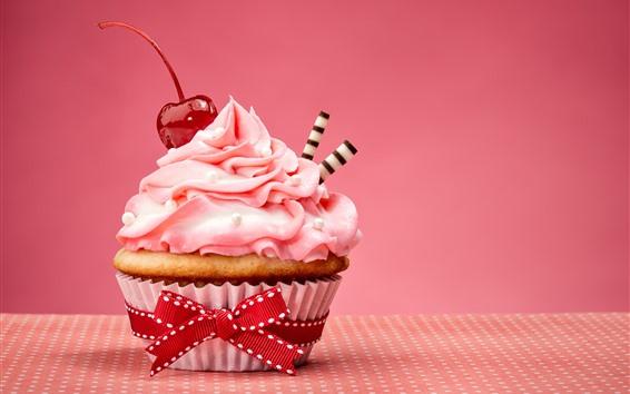 Hintergrundbilder Kuchen, Dessert, Sahne, Kirsche, lecker