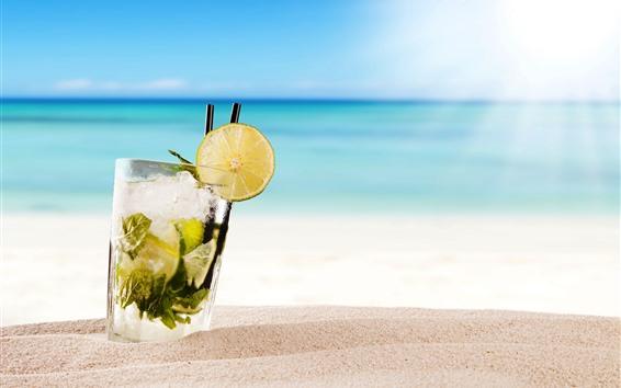 Обои Коктейль, Мохито, напитки, пляж, море, тропический