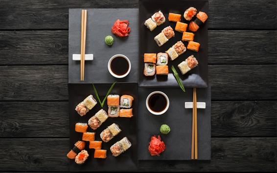 Hintergrundbilder Köstliches japanisches Essen, Sushi, Sauce