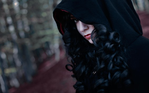 Wallpaper Enchantress, girl, face, hood, cosplay