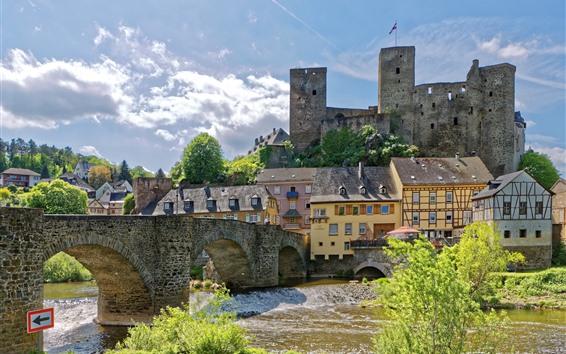 桌布 德國,堡壘,河流,橋樑,房屋