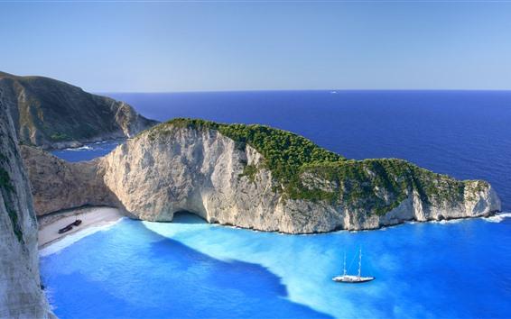 Hintergrundbilder Griechenland, Zakynthos, Ionisches Meer, Schiffswrack, Strand, Insel