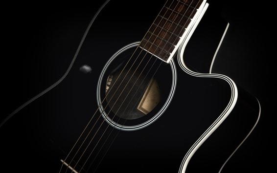 Wallpaper Guitar macro photography, music theme, black background
