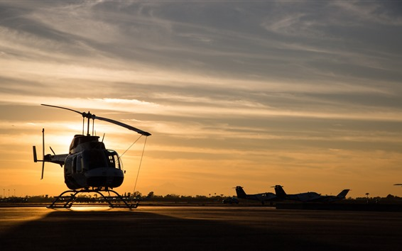 Wallpaper Helicopter, sunset, airport