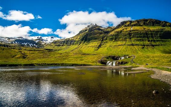 Обои Исландия, озеро, водопад, зеленый, горы, облака