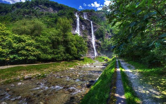Fond d'écran Italie, Lombardie, Sondrio, Arbres, Cascades, Chemin