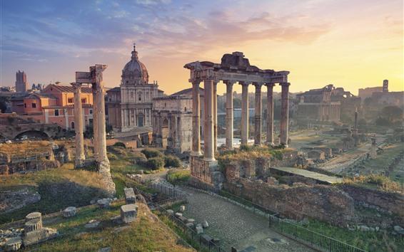Обои Италия, Рим, Руины, Путешествия, Город, Закат