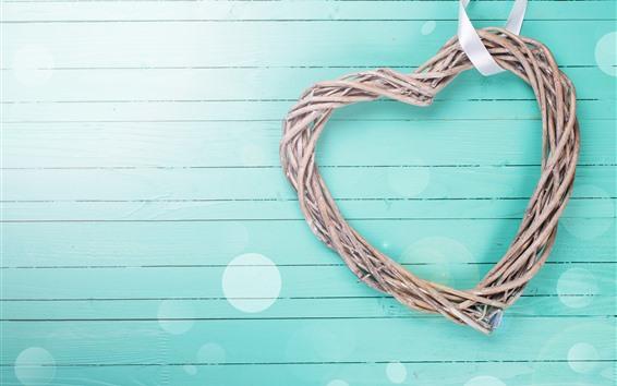 Fond d'écran Cœur d'amour, fond bleu clair
