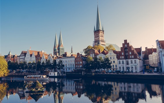 Wallpaper Lubeck, Germany, city, houses, river, boats
