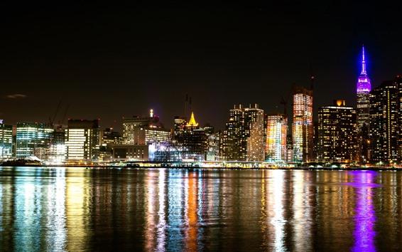 Wallpaper New York, bay, skyscrapers, lights, water, night, USA