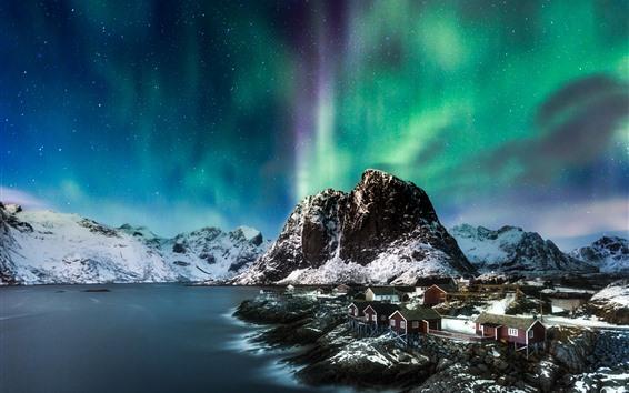 Fondos de pantalla Aurora boreal, montañas, nieve, mar, invierno, casas, noche, noruega