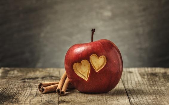 Обои Одно красное яблоко, две любви сердца
