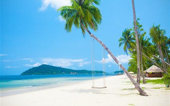 Обои Пальмы, пляж, море, качели, остров, тропический
