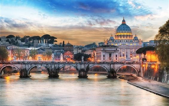 Fond d'écran Rome, palais, pont, rivière, lumières, crépuscule, cathédrale