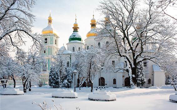Обои Святой Софийский собор, Украина, Деревья, Зима, Снег