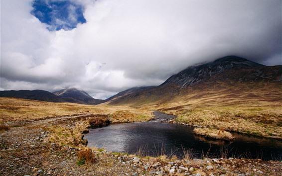 Обои Шотландия, озеро, облака, горы