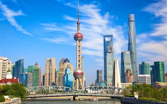 Обои Шанхай, небоскребы, здания, башня, река, Китай